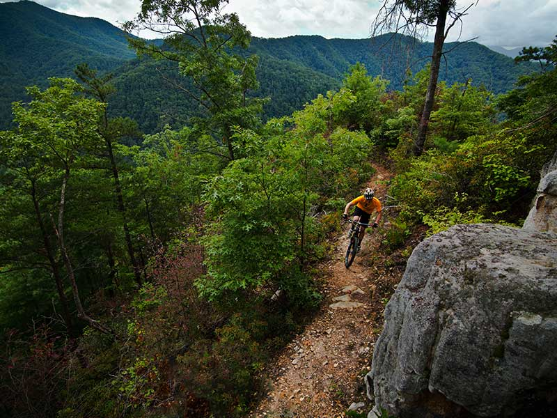 Mountain Biker on ridge line